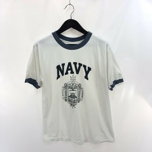 NAVY Academy L White T-shirt Ribbed Vintage USA
